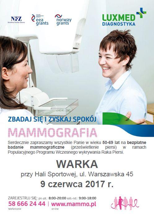 Bezpłatne badania mammograficzne - Warce - 9 czerwca 2017 r. Lux Med Gdynia